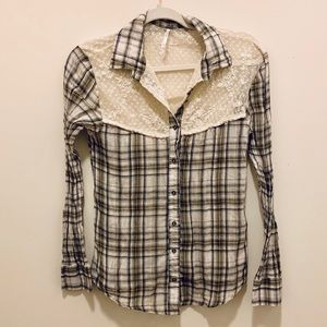 Free People Plaid Button Up With Lace/Sheer Detail